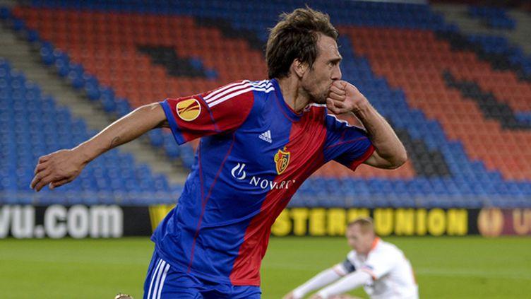 La joie de Delgado pour le FC Bâle (FABRICE COFFRINI / AFP)