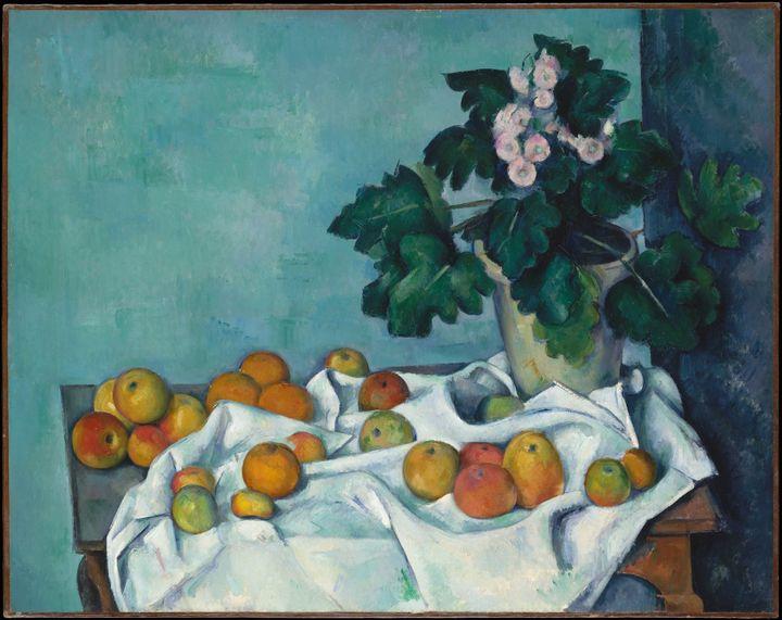 """Paul Cézanne, """"Nature morte aux pommes et aux primevères"""", ca. 1890 (Metropolitan Museum of Art, Bequest of Sam A. Lewisohn, 1951)"""