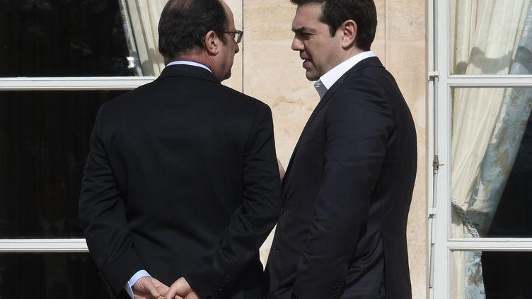 Le Premier ministre grec Alexis Tsipras et le président François Hollande, le 12 mars 2016 à l'Elysée à Paris. (DOMINIQUE FAGET / POOL)