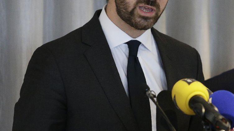 L'avocat de François Fillon Antonin Levy en conférence de presse le 9 février 2017. (GEOFFROY VAN DER HASSELT / AFP)