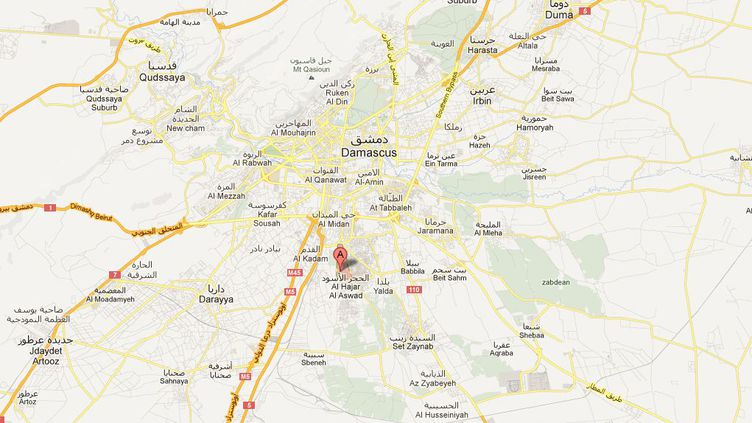 Le camp de réfugiés palestiniens se trouve au sud de Damas. (GOOGLE MAPS / FRANCETV INFO)