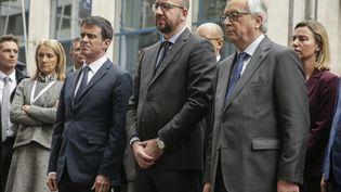 Manuel Valls et son homologue belge Charles Michel, à Bruxelles le 23 mars 2016 (POOL THIERRY ROGE / BELGA MAG)