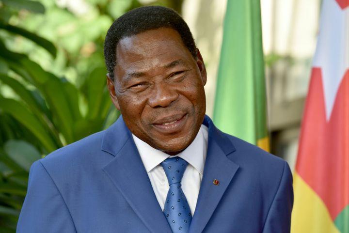 Thomas Boni Yayi, ex-président du Bénin (2006 - 2016), photographié la dernière année de son mandat à Abidjan, lors d'une rencontre avec les présidents du Togo et de la Côte d'Ivoire. (ISSOUF SANOGO / AFP)