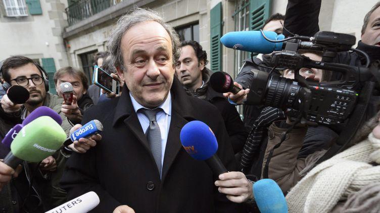 (Michel Platini devant le tribunal arbitral du sport à Lausanne, le 8 décembre 2015 ©maxPPP)
