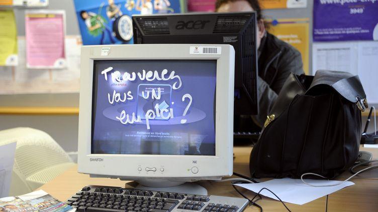 Une inscription sur un écran d'ordinateur dans une agence Pôle emploi, occupée par des manifestants le 17 janvier 2012 à Rennes (Ille-et-Vilaine). (DAMIEN MEYER / AFP)