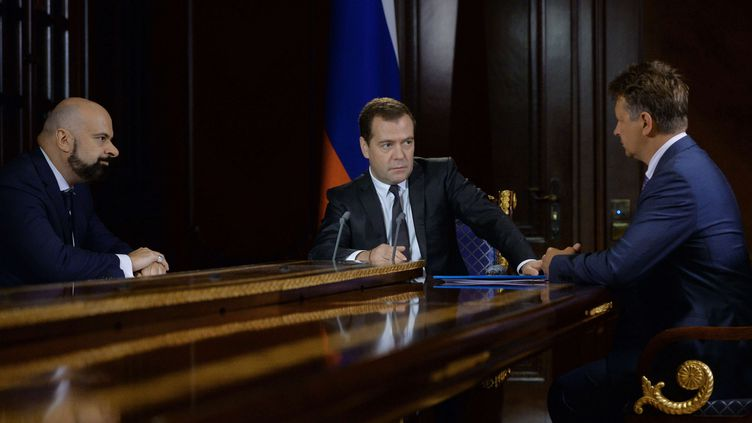 Le Premier ministre russeDmitri Medvedev le 5 août 2014 à Moscou (Russie). (ALEXANDER ASTAFYEV / AP / SIPA)