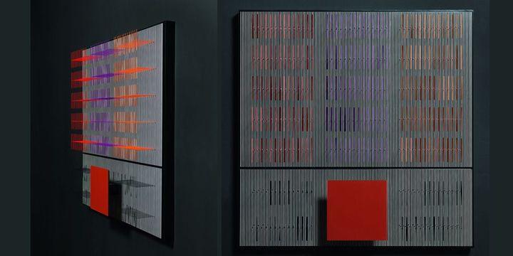 Jesùs Rafael Soto, Cuadrado tabaco y vibraciòn, 2004 (vu de face et de côté) - Dation, 2011, Centre Pompidou, MNAM-CCI / Georges Merguerditchian / Dist. RMN-GP  (Adagp, Paris 2013)