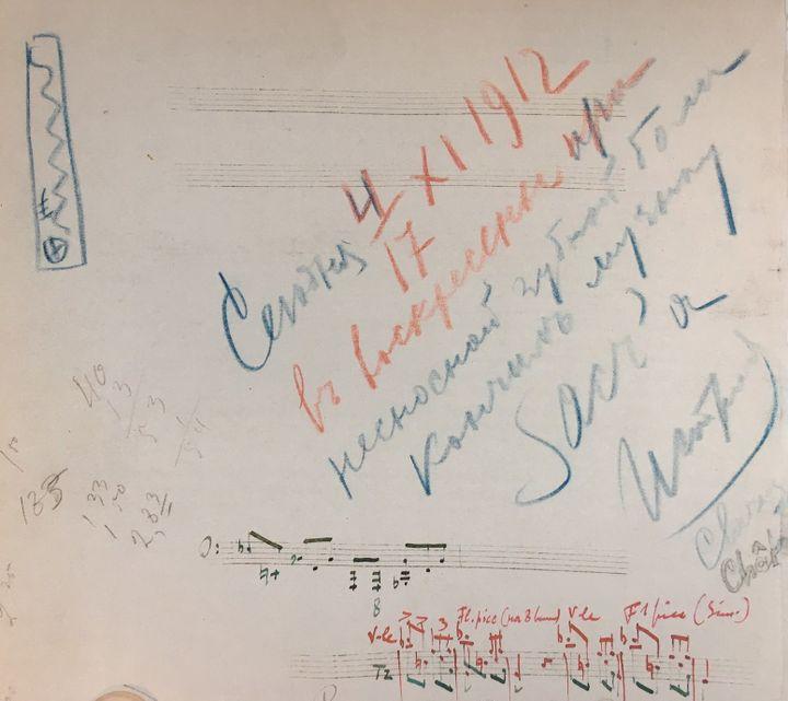"""Détail de l'esquisse de la partition pour le """"Sacre du Printemps"""" de Stravinsky.  (Bibliothèque nationale de France)"""