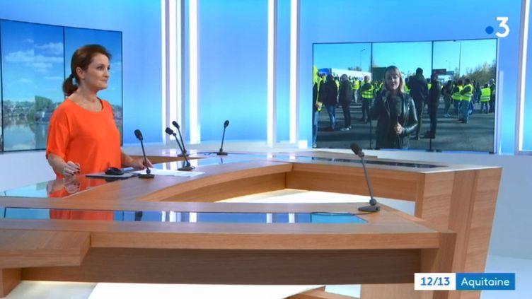 Capture d'écran de l'émission du journal télévisé de France 3 Aquitaine, le samedi 17 novembre 2018, durant le duplex de la journaliste Laurianne de Casanove. (France 3 Aquitaine)