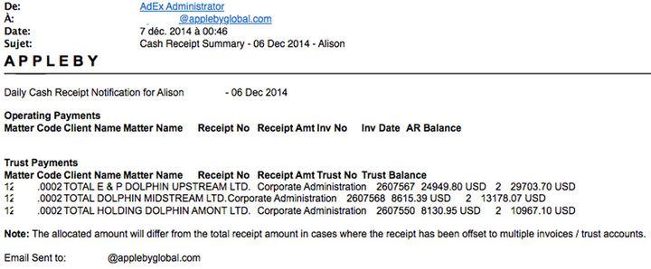 Les frais de gestion facturés par Appleby à Total. (DR)