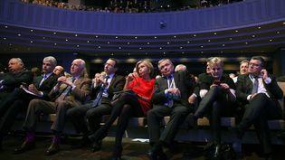 Laurent Wauquiez, Bruno Retailleau, Valérie Pécresse et d'autres élus Les Républicains, le 27 janvier 2018 à Paris. (GEOFFROY VAN DER HASSELT / AFP)