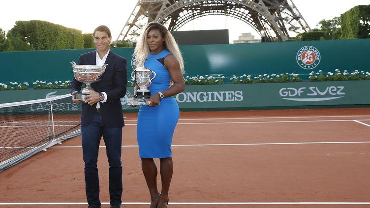 Les vainqueurs de Roland-Garros 2013, l'Espagnol Rafael Nadal et l'Américaine Serena Williams, le 22 mai 2014 à Paris. (  MAXPPP)
