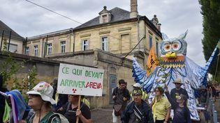 Le 16 juin 2019, une manifestation d'opposants au projet de centre d'enfouissement avait déjà eu lieu à Bar-le-Duc. (JEAN-CHRISTOPHE VERHAEGEN / AFP)