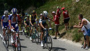Les spectateurs encouragent le Français Romain Bardet pendant la 10e étape du 105e Tour de France entre Annecy et Le Grand-Bornand (Haute-Savoie), le 17 juillet 2018. (PHILIPPE LOPEZ / AFP)