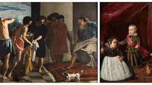 """Diego Velazquez, à gauche """"La tunique de Joseph"""", vers 1630, Madrid, Escorial, à droite """"Portrait de l'infant Baltasar Carlos"""", 1631, Museum of Fine Arts Boston  (A gauche, Patrimonio Nacional - A droite, Museum of Fine Arts, Boston)"""