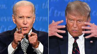 Joe Biden et Donald Trump, les deux candidats à la Maison Blanche, lors du premier débat présidentiel le 29 septembre 2020. (JIM WATSON / AFP)