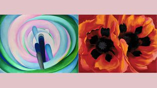 """Georgia O'Keeffe : A gauche, """"Grey, Blue and Black – Pink Circle"""", 1929 Huile sur toile, Dallas Museum of Art. Gift of The Georgia O'Keeffe Foundation - A droite,""""Oriental Poppies"""", 1927, Collection of the Frederick R. Weisman Art Museum at the University of Minnesota, Minneapolis. (A gauche, Courtesy Dallas Museum of Art - A droite,  Image Weisman Art Museum at the University of Minnesota, Minneapolis © Georgia O'Keeffe Museum / Adagp, Paris, 2021)"""