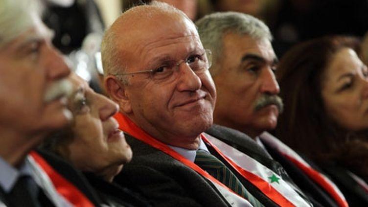 Le 9/01/2012. Michel Samaha présent à Damas lors d'une messe transformée en tribune politique. (Photos : Caroline Poiron pour Géopolis.)