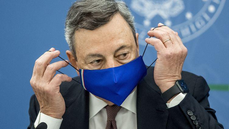 Le Premier ministre italienMario Draghi lors d'une conférence de presse à Rome (Italie) le 22 juillet 2021. (ROBERTO MONALDO / LAPRESSE)