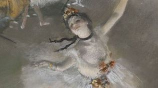 """Détail de """"Ballet, dit aussi L'Étoile"""" v. 1876  (Paris, musée d'Orsay, Dist. RMN-Grand Palais /Photo : Patrice Schmidt)"""