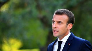 Emmanuel Macron lors d'une conférence de presse au Vatican, le 26 juin 2018. (ALBERTO PIZZOLI / AFP)