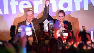 Alexander Gauland et Alice Weidel, les deux chefs de file pour l'Afd après les élections législatives allemandes, le 24 septembre 2017, à Berlin. (JULIAN STRATENSCHULTE / DPA)