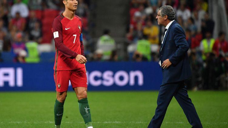 Cristiano Ronaldo et le sélectionneur du Portugal, Fernando Santos. (YURI CORTEZ / AFP)