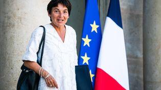 La ministre de la Mer, Annick Girardin, quitte le palais de l'Elysée à Paris, le 8 septembre 2021. (XOSE BOUZAS / HANS LUCAS / AFP)