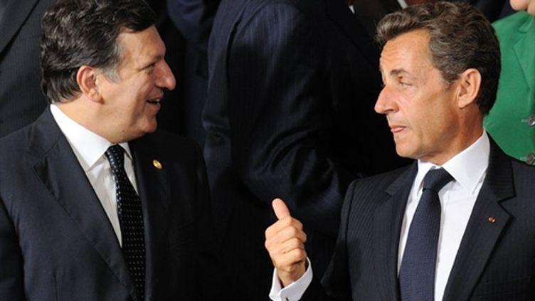 Le président de la Commission européenne, José Manuel Barroso, avec Nicolas Sarkozy, le 16 septembre 2009 à Bruxelles (AFP - ERIC FEFERBERG)