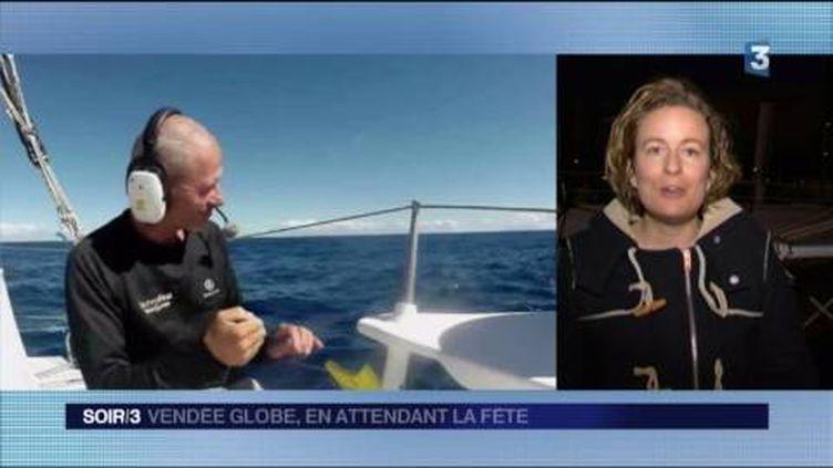 Sébastien Destremau était le dernier skipper du Vendée Globe. (FRANCE 3)