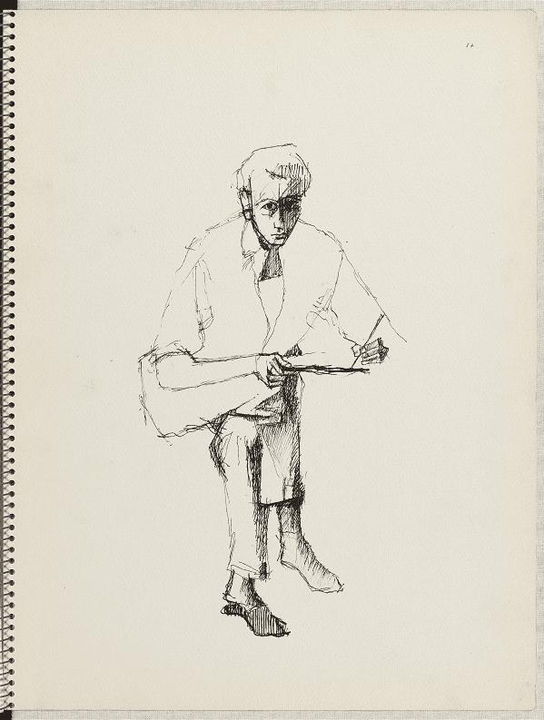 Georges Lemoine, Carnet n°128, p.17, Montmartre, rue Caulaincourt, 1955, autoportrait assis  (BnF, Centre national de la littérature pour la jeunesse, département Littérature et art)