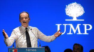 Jean-François Copé, le 6 mai 2013, en meeting à Nîmes (Gard). (SYLVAIN THOMAS / AFP)