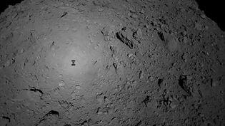 L'astéroïde Ryugu et l'ombre dela sonde japonaise Hayabusa2, le 3 octobre 2018. (HANDOUT / JAXA)