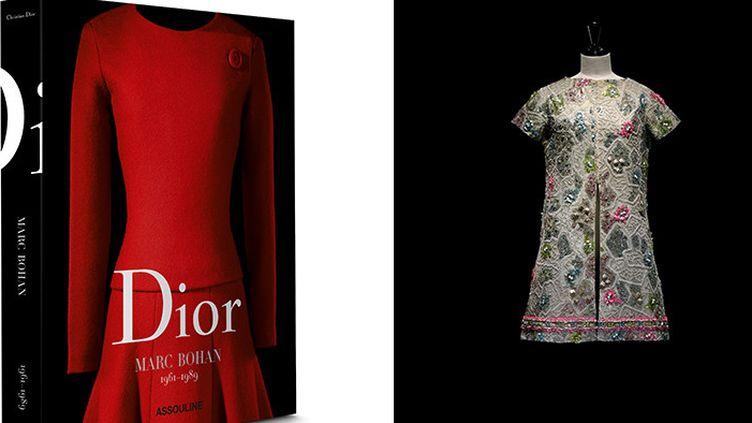 """Couverture du livre """"Dior Marc Bohan"""" + robe tunique en coton brodé de fil argenté, de perles et paillettes bleues et roses, haute couture printemps-été 1966  (Laziz Hamani)"""