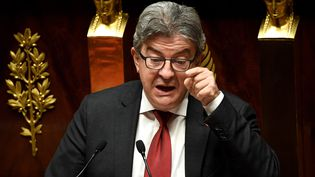 Le chef de file de La France insoumise lors du débat sur l'immigration, lundi 7 octobre 2019 à l'Assemblée nationale. (ALAIN JOCARD / AFP)