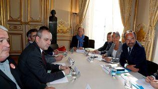 Les syndicats étaient reçus lundi 7 mai à Matignon. (FRANCOIS GUILLOT / POOL)