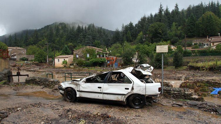 Le village de Saint-Laurent-le-Minier (Gard) après l'orage, le 19 septembre 2014. (  MAXPPP)
