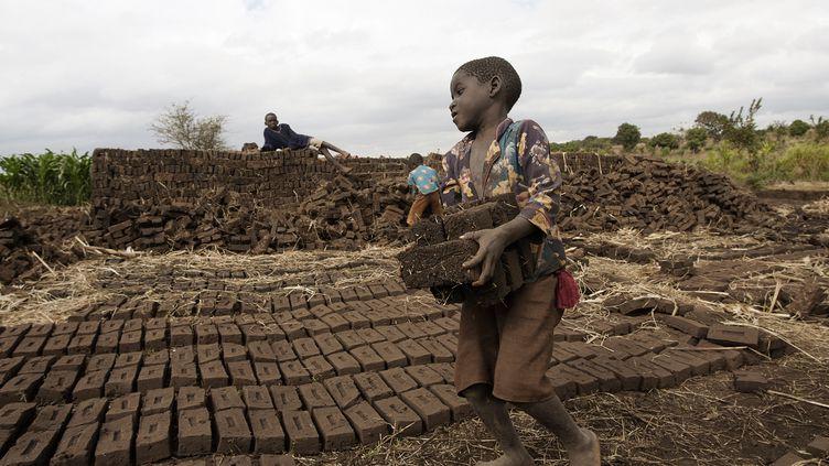 Un enfant au travail dans une briquetterie du Malawi. (AMOS GUMULIRA / AFP)
