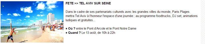 """La présentation de la journée """"Tel-Aviv sur Seine"""" sur le site de la mairie de Paris. (MAIRIE DE PARIS)"""