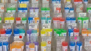 Des tubes de granules homéopathiques, en mai 2019. (AMAURY BLIN / HANS LUCAS / AFP)