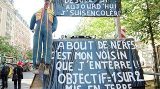 Les agriculteurs clament leur colère, le 3 septembre 2015 à Paris. (TIMOTH?E COGNARD / AFP)