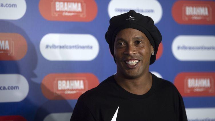 L'ancien joueur de foot brésilien Ronaldinho à Rio de Janeiro, le 24 janvier 2019. (MAURO PIMENTEL / AFP)