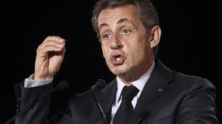 Nicolas Sarkozy, le 16 septembre 2016, lors d'un meeting à Mandelieu-la-Napoule (Alpes-Maritimes). (VALERY HACHE / AFP)