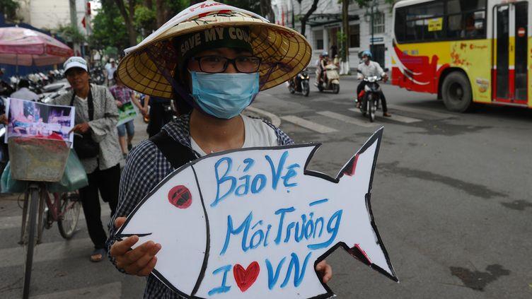 Une manifestante proteste contre l'entreprise Formosa, accusée d'être à l'origine d'une pollution sur les côtes vietnamiennes, à Hanoi, le 1er mai 2016. (HOANG DINH NAM / AFP)
