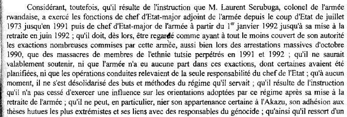 Extrait d'un arrêt de la Commission des recours des réfugiésde 2002 concernant Laurent Serubuga. (  FRANCETV INFO )