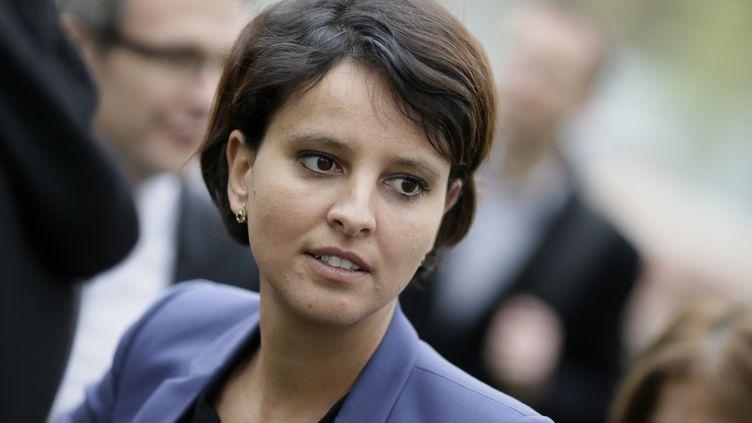 Najat Vallaud-Belkacem, ministre des Droits des femmes, à Pantin (Seine-Saint-Denis), le 4 avril 2014. (KENZO TRIBOUILLARD / AFP)