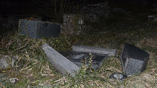 Une tombe detruite au cimetière juif de Sarre-Union (Bas-Rhin), le 15 février 2015. (FREDERICK FLORIN / AFP)