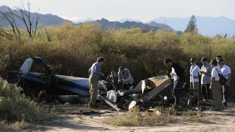 Les experts français et argentins sur le site du crash, le 11 mars 2015 àVilla Castelli (Argentine). (JUAN MABROMATA / AFP)