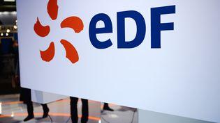 Le logo d'EDF, lors d'un salon au Bourget, le 28 juin 2016. (ERIC PIERMONT / AFP)