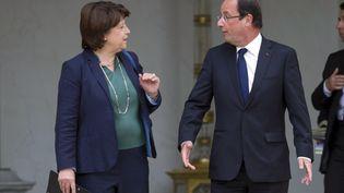 Martine Aubry reçue à l'Elysée par le président de la République François Hollande mercredi 6 juin 2012 (FRED DUFOUR / AFP)